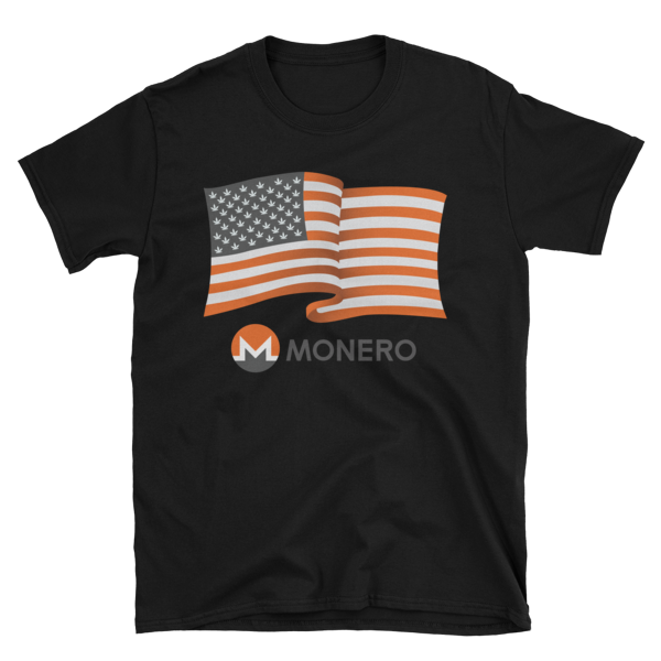 Monerocan Flag T Shirt With Text Monero Apparel
